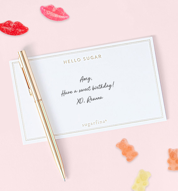 Include a custom handwritten note to say just how much you care. Sugarfina will always write your message by hand.