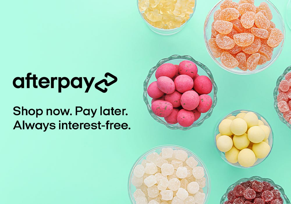 Shopping at sugarfina.com just got sweeter! With AfterPay, you can shop now and pay in installments. Always interest free. Minimum purchase of 50 dollars required.