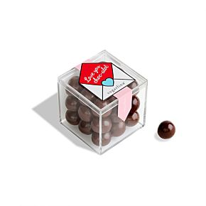 """Love You Choc-alot"" Dark Chocolate Sea Salt Caramels Candy Cube"
