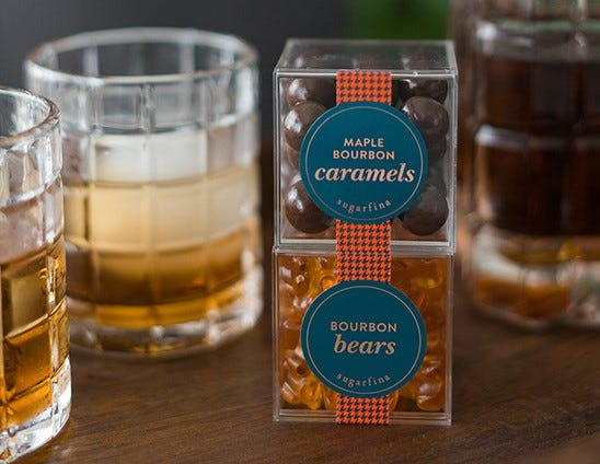 Bourbon Candy Collection - showing Maple Bourbon Caramels and Bourbon Bears
