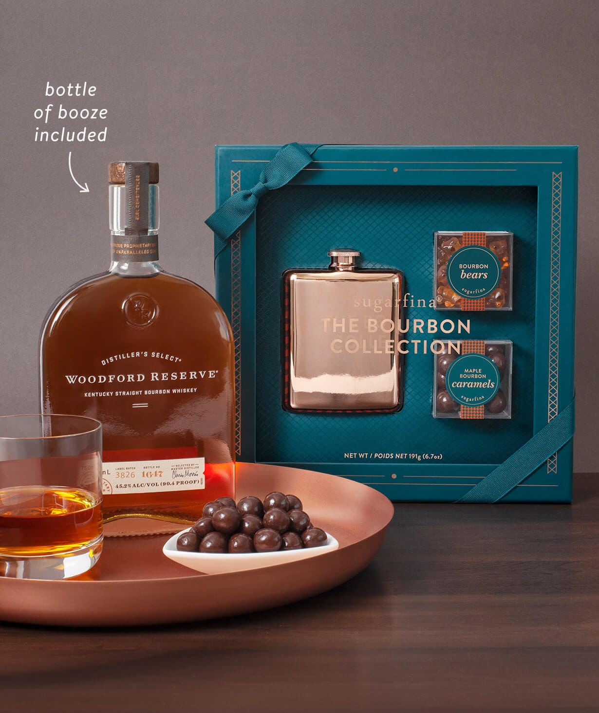 ReserveBar Bundles: pair candy with bottle of wine or spirit, shipped by ReserveBar
