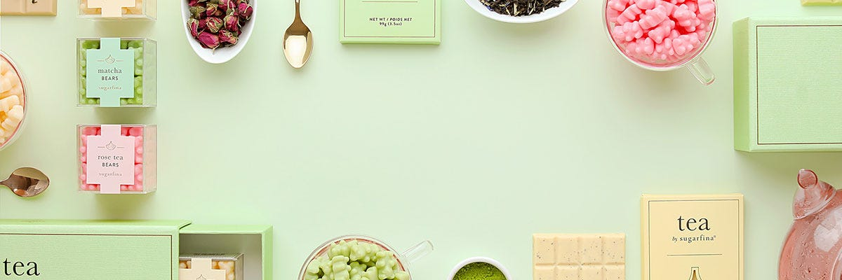 Introducing the Tea Collection. A tea-lightful assortment of tea-inspired gummies and chocolate bars.