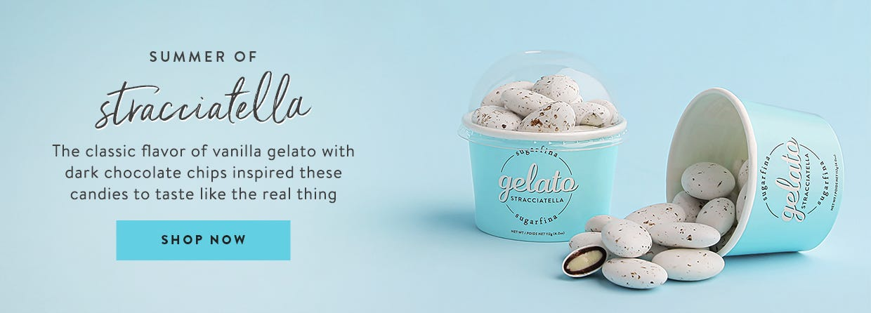 Summer of Straciatella. This classic flavor of vanilla gelato sprinkled with dark chocolate chips inspired these delicious candies that taste just like the real thing.