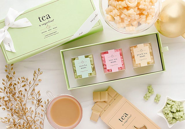 Unwinding has never been easier with our luxurious collection of tea-inspired gummies and chocolate bars.