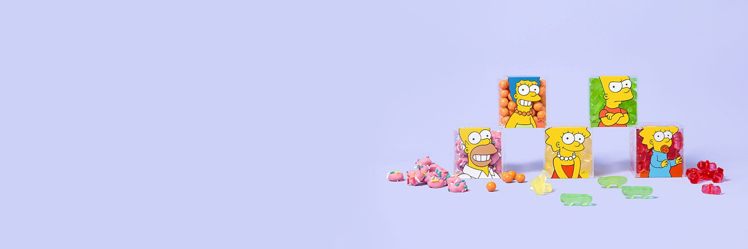 The Simpsons 5 Piece Bundle. Bring the whole delicious family of sweets home with you! Included in this bundle is all 5 of our The Simpsons x Sugarfina Candy Cubes.